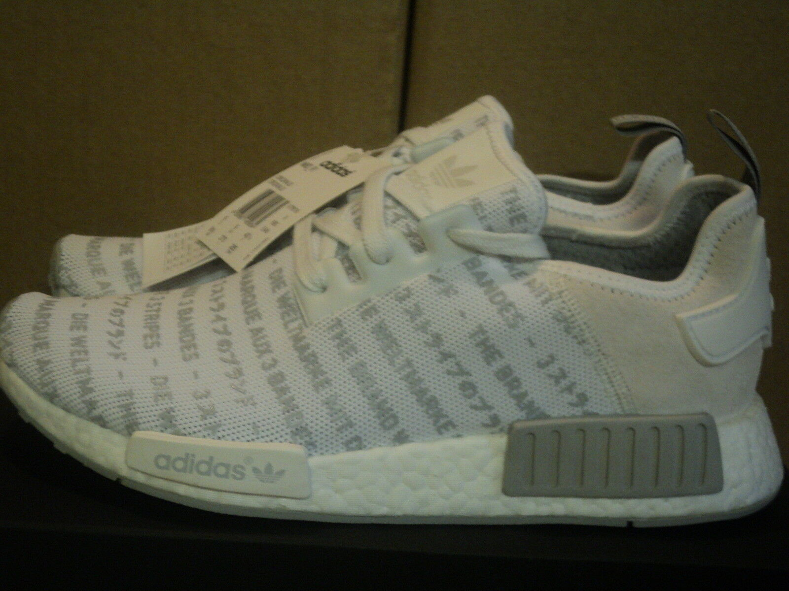 ADIDAS NMD R1 3 STRIPES WHITE SOLID GREY SIZE & 9 = US 8.5 & 9.5  --NEW--