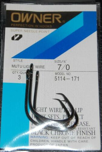 OWNER Black Chrome Mutu Light Wire Circle Hooks 5114-171 Size 7//0-3 pack