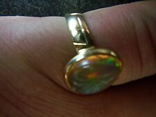 atemberaubender riesiger mexikanischer Feueropal Rhombolit Ring 585er Gold