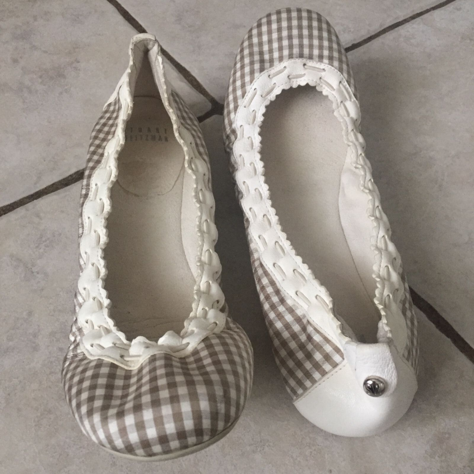Stuart Whitman Taupe Mini Gingham Downbeat  Fabric/Leder Ballet Flats sz.8