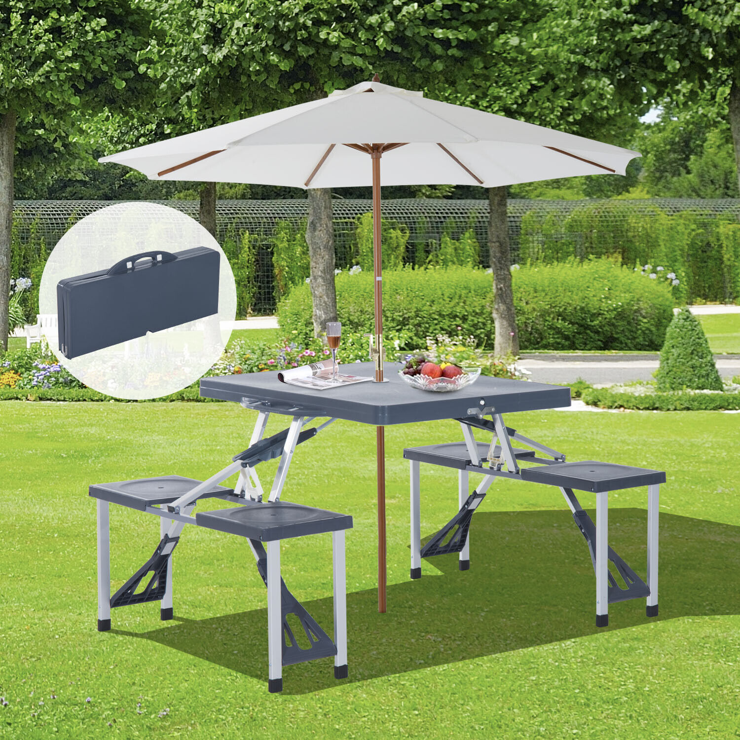 Outsunny Folding Picnic Table Chair Set Camping Aluminium Frame w/ Suitcase WAS £93.99 NOW £42.99 w/code PARCEL10 @ eBay