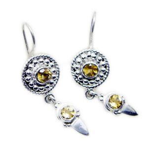 classy-Citrine-925-Sterling-Silver-Yellow-Earring-genuine-gemstones-US-gift