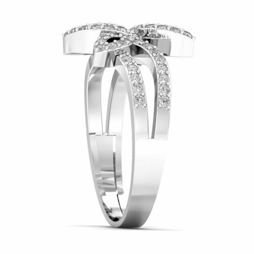 Details about  /Cubic Zirconia 925 Sterling Silver Ring Leaf Dual Shank Pave