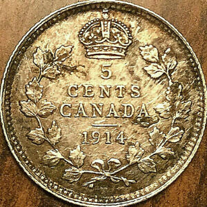 1914-CANADA-SILVER-5-CENTS-COIN-Excellent-example