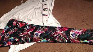 VICTORIA SECRET PINK limited edition tropical palm leggings & perfect crew set