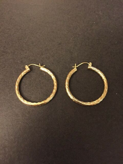 14k Solid Yellow Gold Large Hoop Diamond Cut Earrings