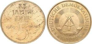 5 Mark 20 Years GDR 1969 Lack Coinage With Double Randschrift (Opposing)