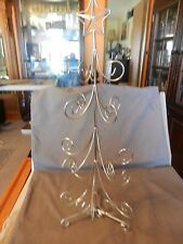 "Small 20"" Tall Silver Metal Christmas Tree for Tabletop Can Hang Ornaments On It"