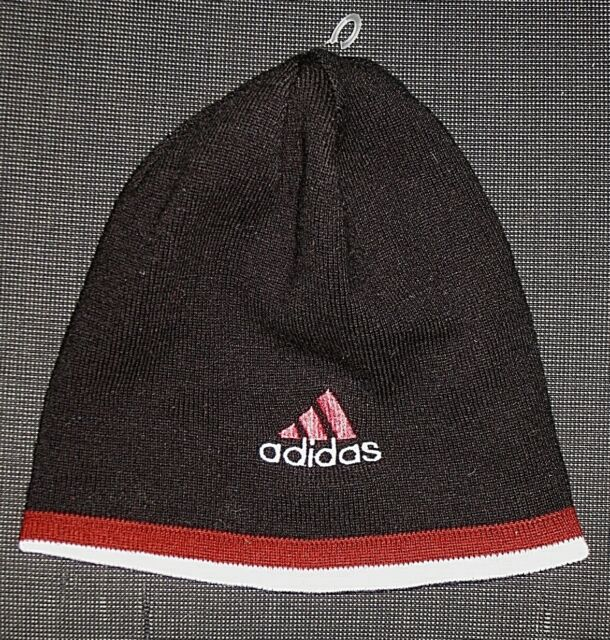 ADIDAS BLACK RED GRAY KNIT REVERSIBLE BEANIE HAT BOYS GIRL'S YOUTH ONE SIZE OS