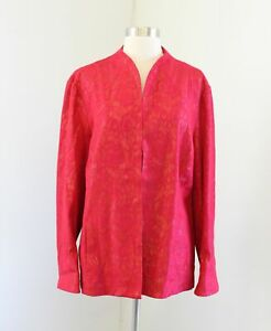 NWT Chico's Red Gold Embossed Floral Shine Metallic Jacket Chicos Size 3