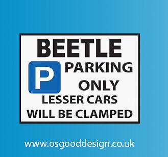 Beetle Parking Only Vinyl Sticker VW Volkswagen Bug D055