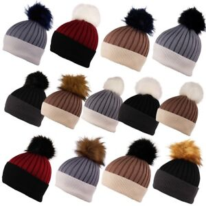 707b61b222f12e ITZU Cashmere Wool Blend Knit Faux Fur Bobble Pom Pom Pull On Beanie ...