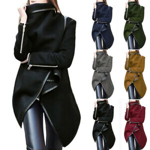 Women-Slim-Zip-Winter-Warm-Trench-Coat-Long-Wool-Jacket-Outwear-Parka-Cardigans