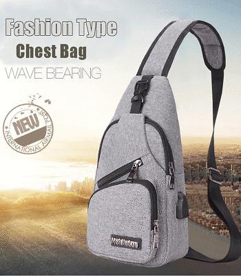 1X Men Black Canvas Messenger Shoulder Bag Chest Pack Crossbody Cycle /& USB Port