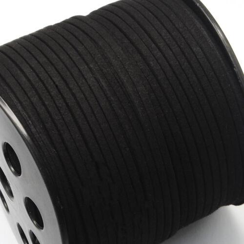 Cable de gamuza sintética hilo 3mm X 1.5mm Negro para grano encordado Pulsera Collar