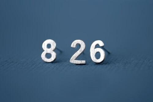 Digitale Nummer Ohrstecker Echt 925 Sterling Silber Ohrringe Ohrhänger A1210
