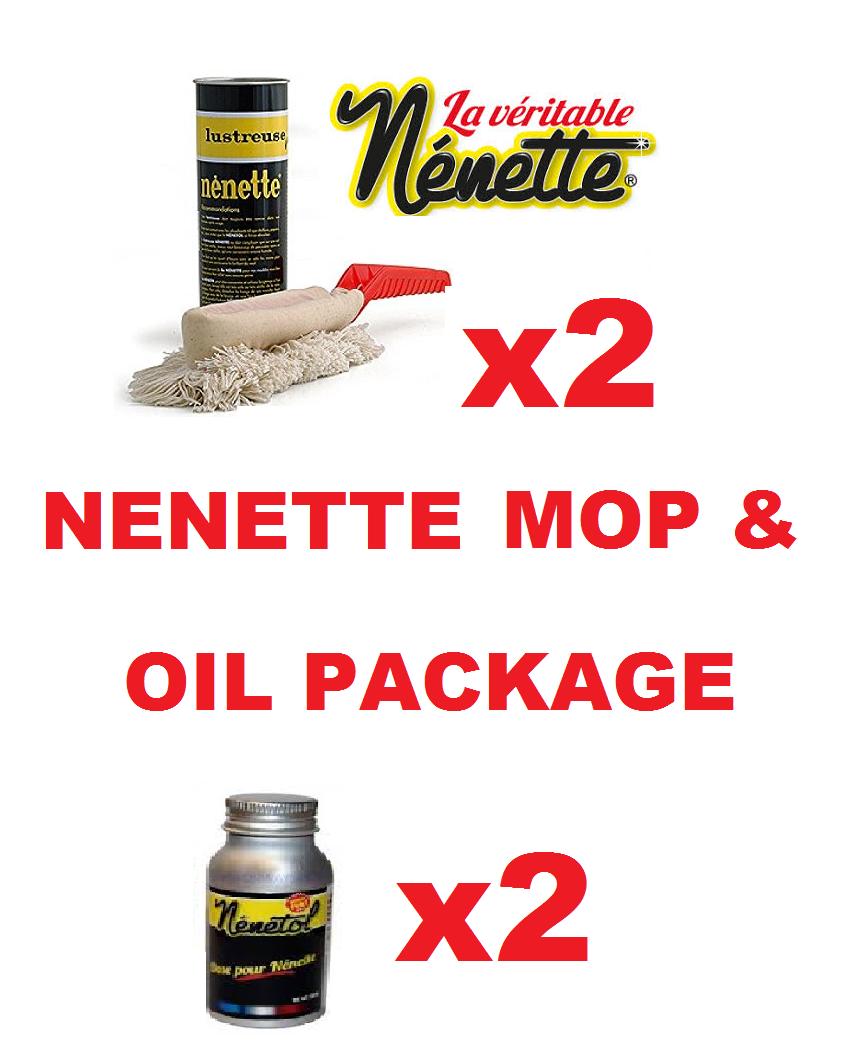 2 x Originale Nenette AUTO DUSTER Spazzola POLACCO cupole & 2 Bottiglie di ricarica d'olio
