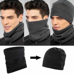 Black-Neckwarmer-Thermal-Polar-Fleece-Snood-Scarf-Hat-Ski-Wear-Mens-Ladies
