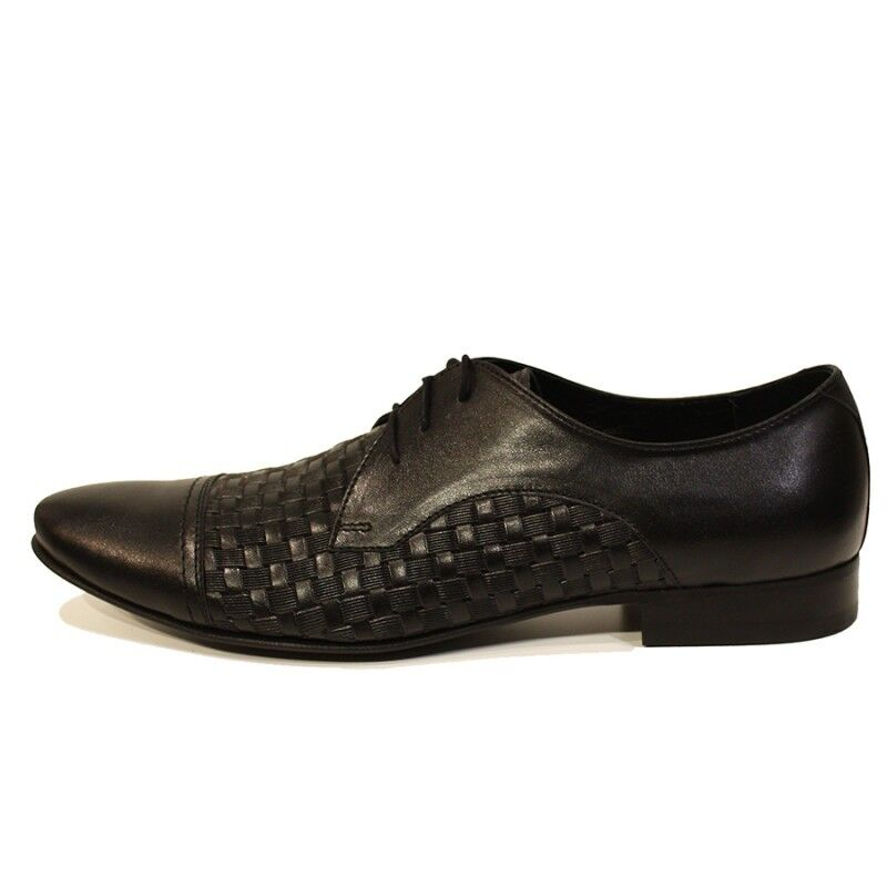 Modello Pascasio - Handmade colorful Italian Leather Oxford Dress shoes Black