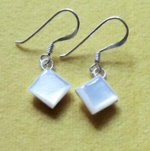kleine eckige Abalone Ohrringe Perlmutt Ohrhänger Howlith 925 Sterling Silber