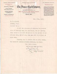1917 THE FRANCE COAL COMPANY Toledo OHIO Charles L. France LEE J. BRENNEMAN