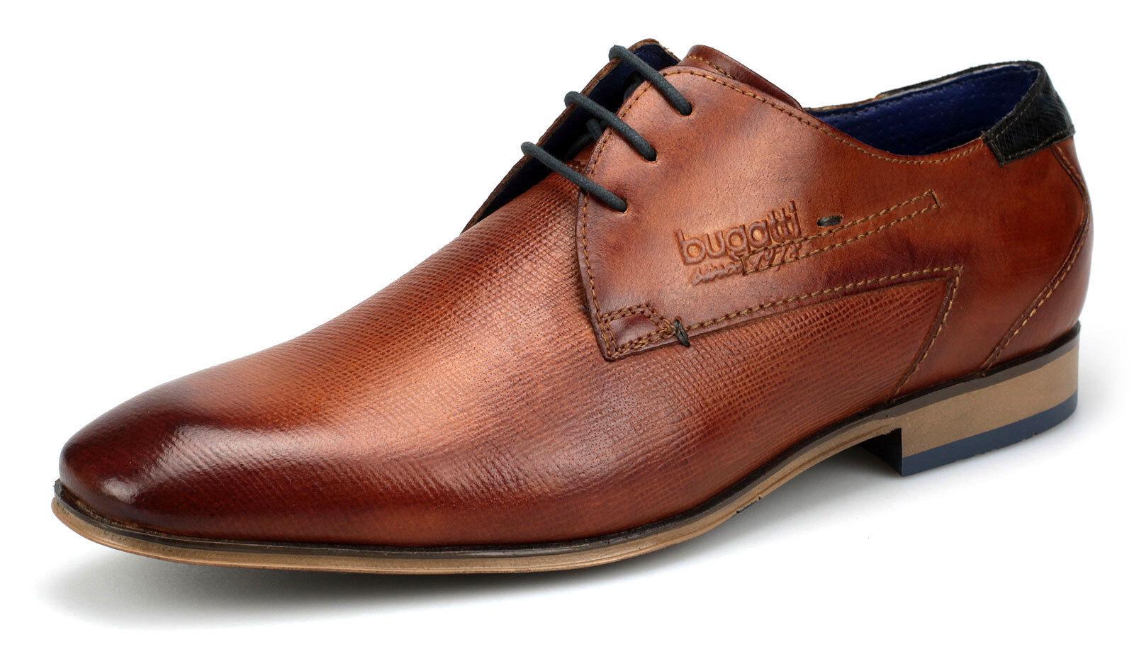 Bugatti Herren Echtleder Halbschuhe Business Schuhe Schnürer 31210108 Cognac