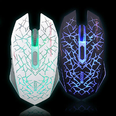 2.4GHz Wireless 6D LED Rechargeable 2400DPI 6 Buttons Optical Gaming Mouse Mice