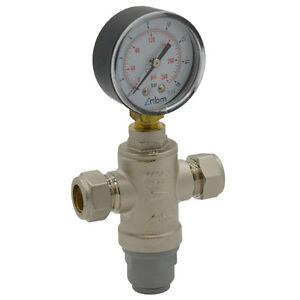 intatec water pressure reducing valve with gauge 15mm regulating prv ebay. Black Bedroom Furniture Sets. Home Design Ideas