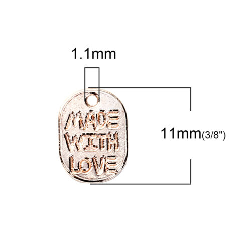 "Anhänger Charm rosegold /""made with Love/"" 10 Stück C9"