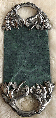 Godinger White Marble Serving Tray Charcuterie Platter Cheese Board with Leopard Handle