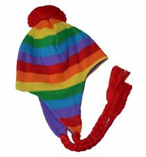 City Rainbow Peruvian Style String Beanie Knit Hat Youth Size