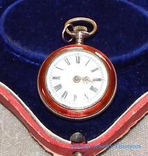 Antique Swiss 800 Silver Red Enamel Guilloche Pocket Watch RUNS
