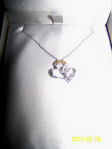 Yellow /& White Entwined Heart Zales Diamond Necklace Silver  $119 Romantic Gift
