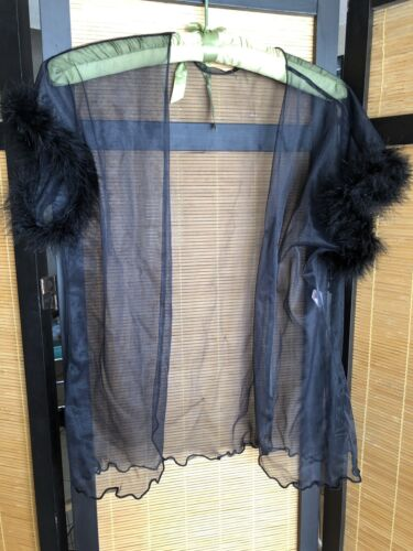 Vintage 80s Duet Black Chiffon Short Robe Bed Top