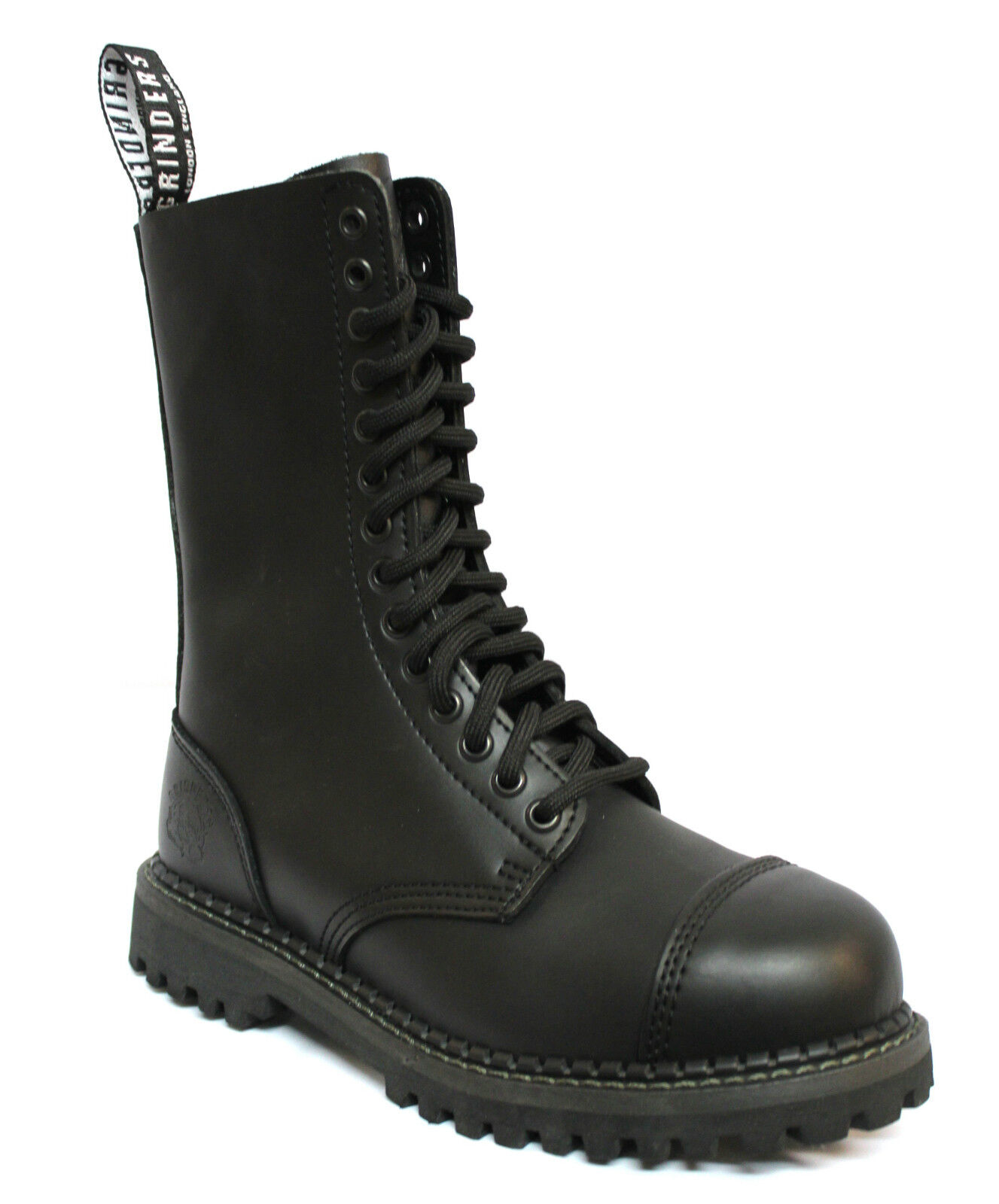 Grinders Männer formale schwarze 14 Eye Leder Militäruniform Stiefel