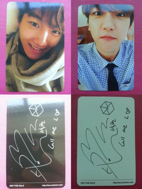 EXO 2pcs Black + White BAEKHYUN Official Photo Card 2nd Album EXODUS  Photocard
