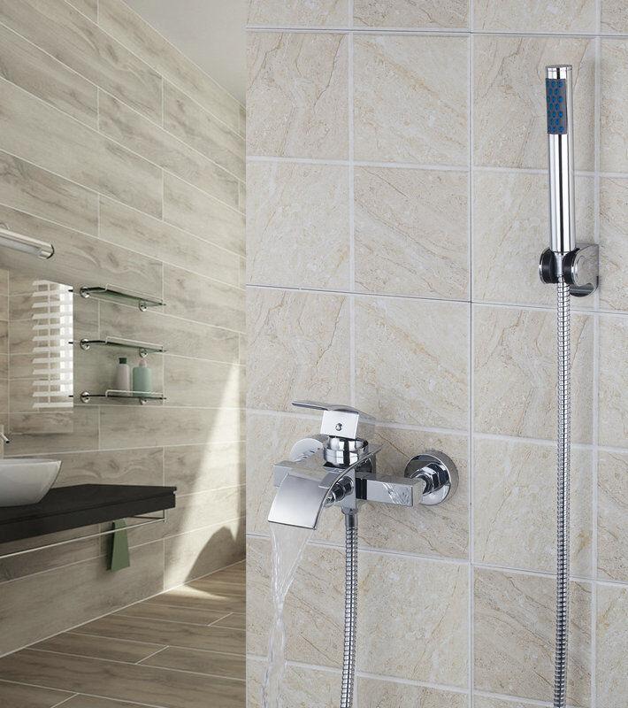 Wall Mounted cascade salle de bains Baignoire Mélangeur Robinet bain douche à main Taps Kits