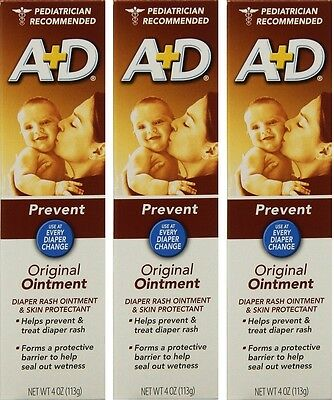 A+d Original Pommade,couche Éruption & Peau Protectant 118ml Tuyau pack De 3 Firm In Structure