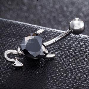Navel Belly Button Ring Crystal Rhinestone  Heart Spirals Devil Piercing TO