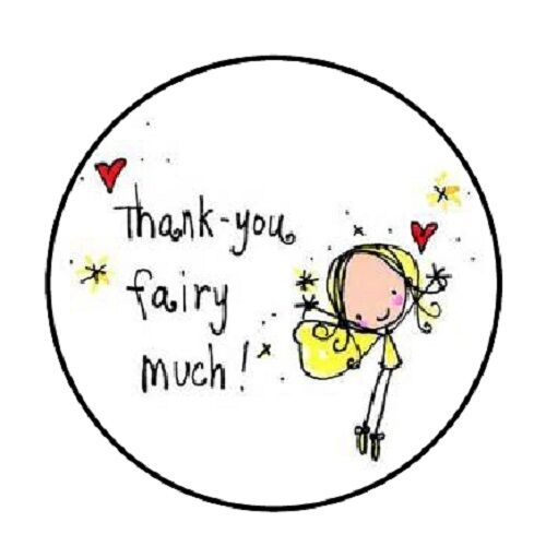 """ENVELOPE SEALS LABELS STICKERS 1.2/"""" ROUND 48 Thank You Fairy Much!!"""
