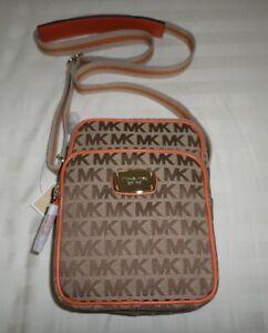 04822d45ef13 NWT Michael Kors MK Signature W Webbing FLIGHT Crossbody Bag MK Sig ...
