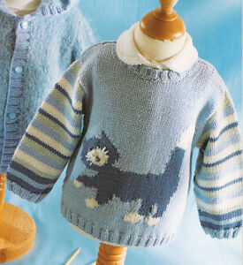 Baby-Children-Cat-Motif-Sweater-0-4-years-DK-Knitting-Pattern