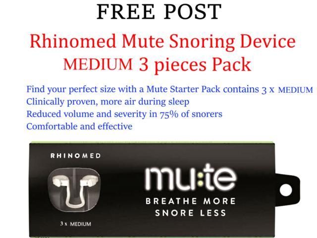 RHINOMED Mute Snoring Device - MEDIUM ( 3 pack ) * FREE POST *