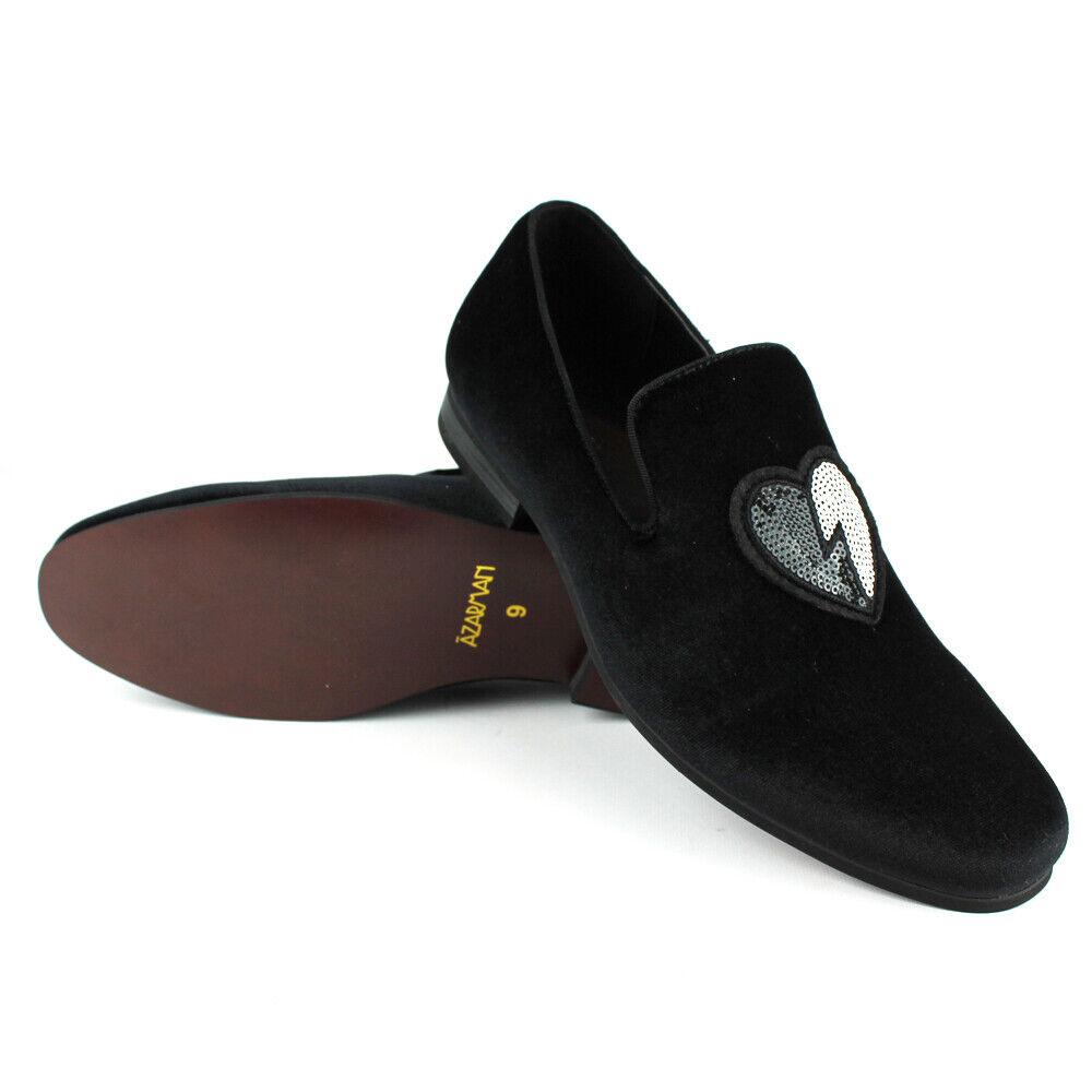 e44af6bd1b97a Men's shoes Velvet Slip On Black Sequin Heart Embroidered Dress ...
