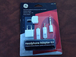 New-GE-20101-Headphone-Adapter-Kit-Airplane-amp-Stereo-Adapters-Splitter-amp-Extension