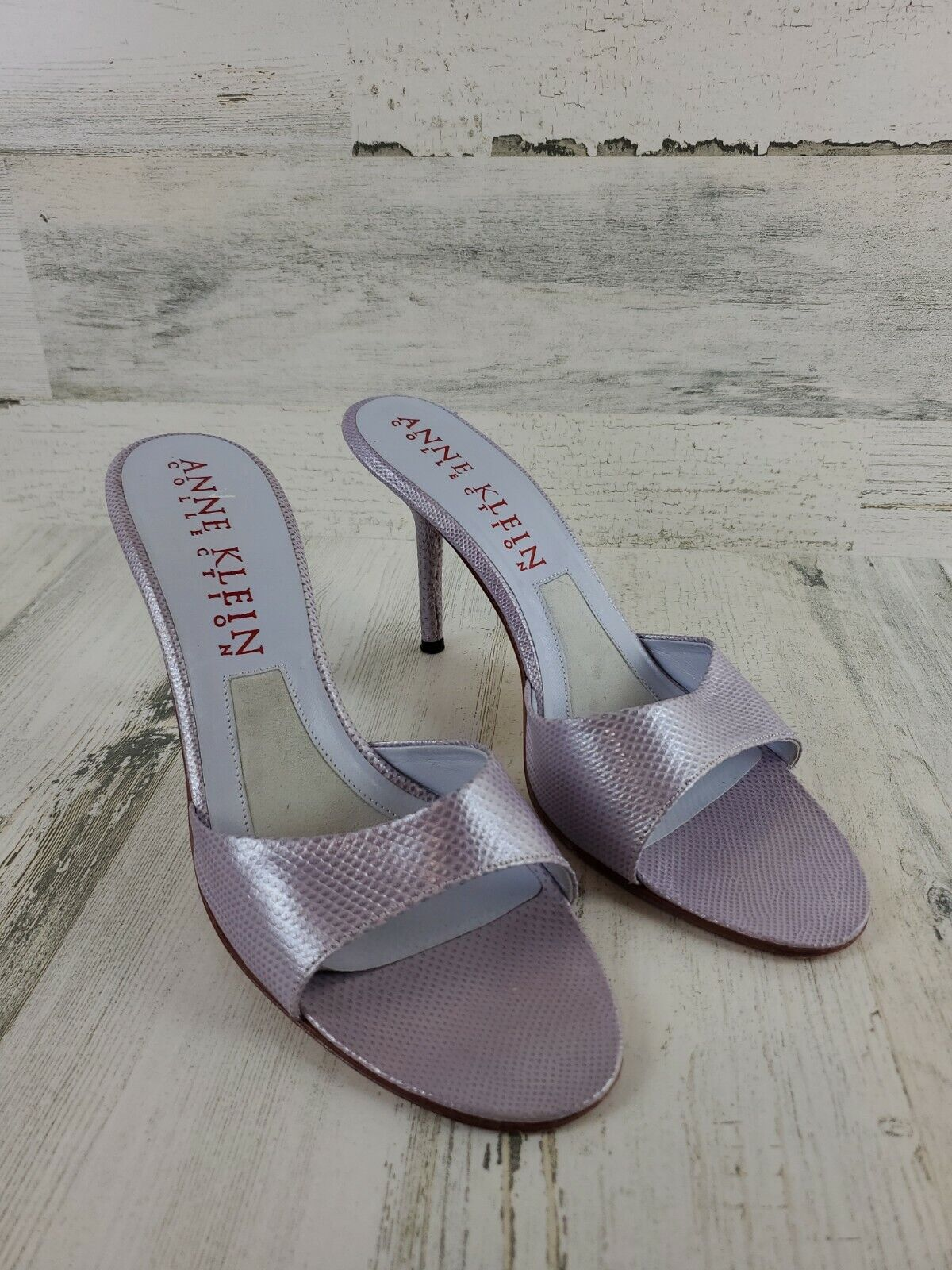 Anne Klein Collection Slipon Heels, Mettalic Purple Womens US Size 8.5 Italy