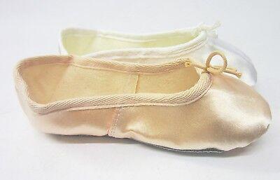 blanco y Rosa Satén Zapatos de ballet (Niños & Tallas adulto £4.99)
