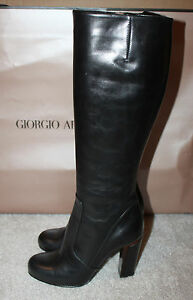 Auth en pour Botte Giorgio Armani noir cuir femmesItalie SVqMpUGz