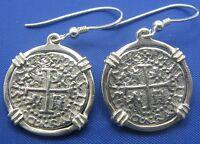 Sterling Silver Pirate Memorabilia Shipwreck Spanish Treasure Coin Earring Pair