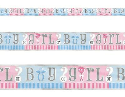 GENDER REVEAL - Foil Banner 12ft, Unisex Baby Shower Party Decorations Supplie
